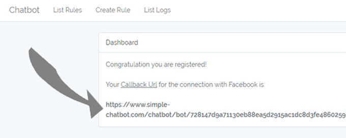 13. Your CallBack URL is at Simple Chatbot first page