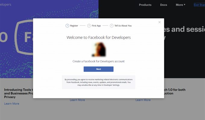 2. Create a Facebook for Developers Account
